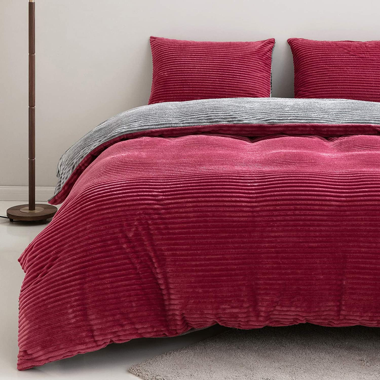 Luxury Duvet Pink Quilt Cover With Pillowcases VELVET Bedding Set Quilted 2020