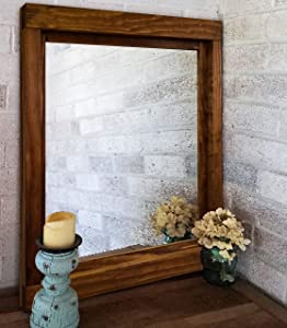 Farmhouse Framed Wall Mirror, 20 Stain Colors - Large Wall Mirror, Rustic Style Home Decor, Housewares, Woodwork, Wood Framed Mirror, Bathroom Mirror, Vanity Mirror, Mirror for Wall