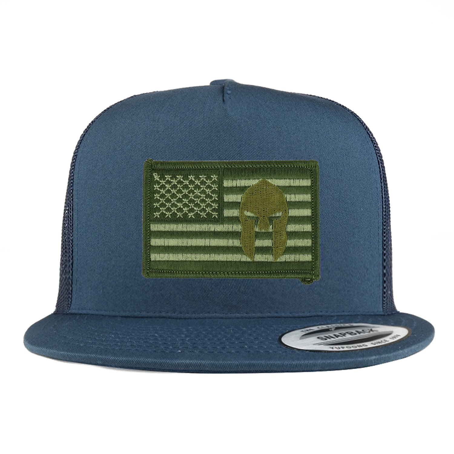 559ef1f5cafc6f Armycrew 5 Panel Olive USA Flag Spartan Embroidered Patch Flatbill Mesh  Snapback - Black at Amazon Men's Clothing store: