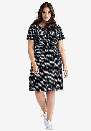 Ellos Women\'s Plus Size Polka Dot A-Line Dress - Black White Dot, S ...