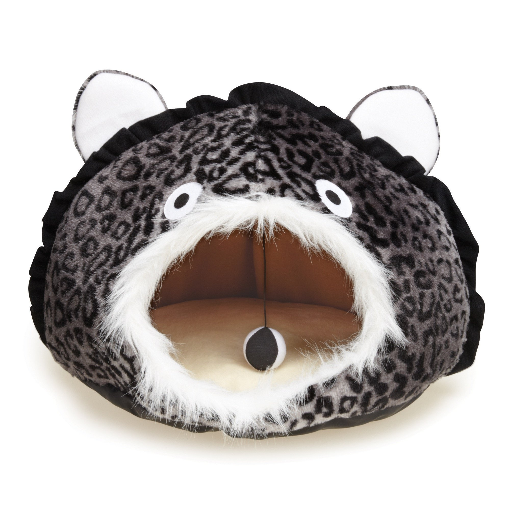Meow Town Cat Caves Bed  -  Cozy and Comfortable Leopard-Print Hideaway Caves for Cats - 15''W x 11''H, Grey