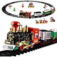 NUOBESTY Christmas Train Set with Lights and Sounds, Christmas Train Toy Model for Under The Tree Xmas Gifts Christmas…