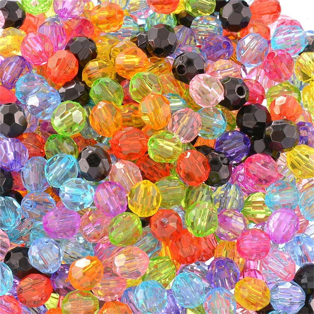 Cristal transparente de anilla bicónica ab-colored facetas de perlas de acrílico agujero pequeño