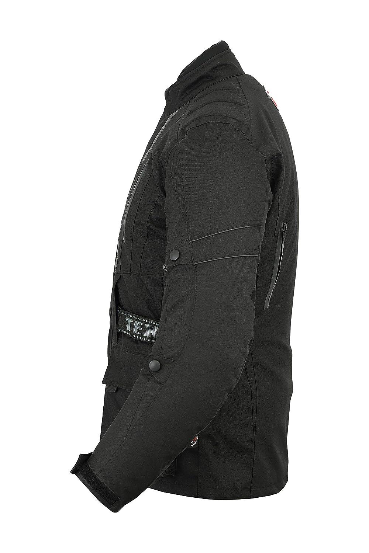 wasserdicht /& mit Protektoren 11XL Herren Motorradjacke schwarz Texpeed Jerico