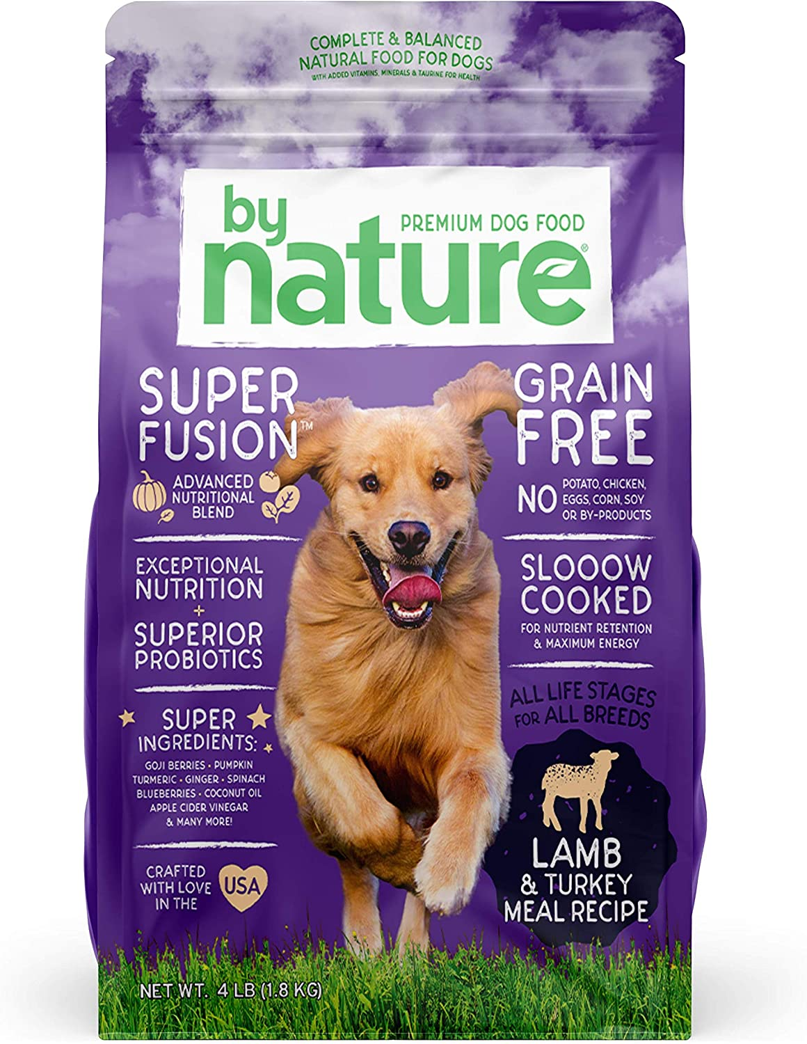 By Nature Pet Foods Grain Free Dog Food Made in USA [Grain Free Dry Dog Food with Superfood Ingredients for Food Sensitivities and Immune Health], Lamb & Turkey Meal Recipe, 4 lb. Bag, Brown (77070)