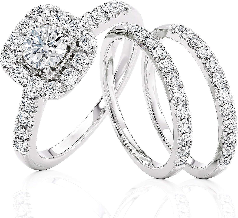 1.00 CT Diamond Engagement Wedding Band Ring Set 14K White Gold Over Womens