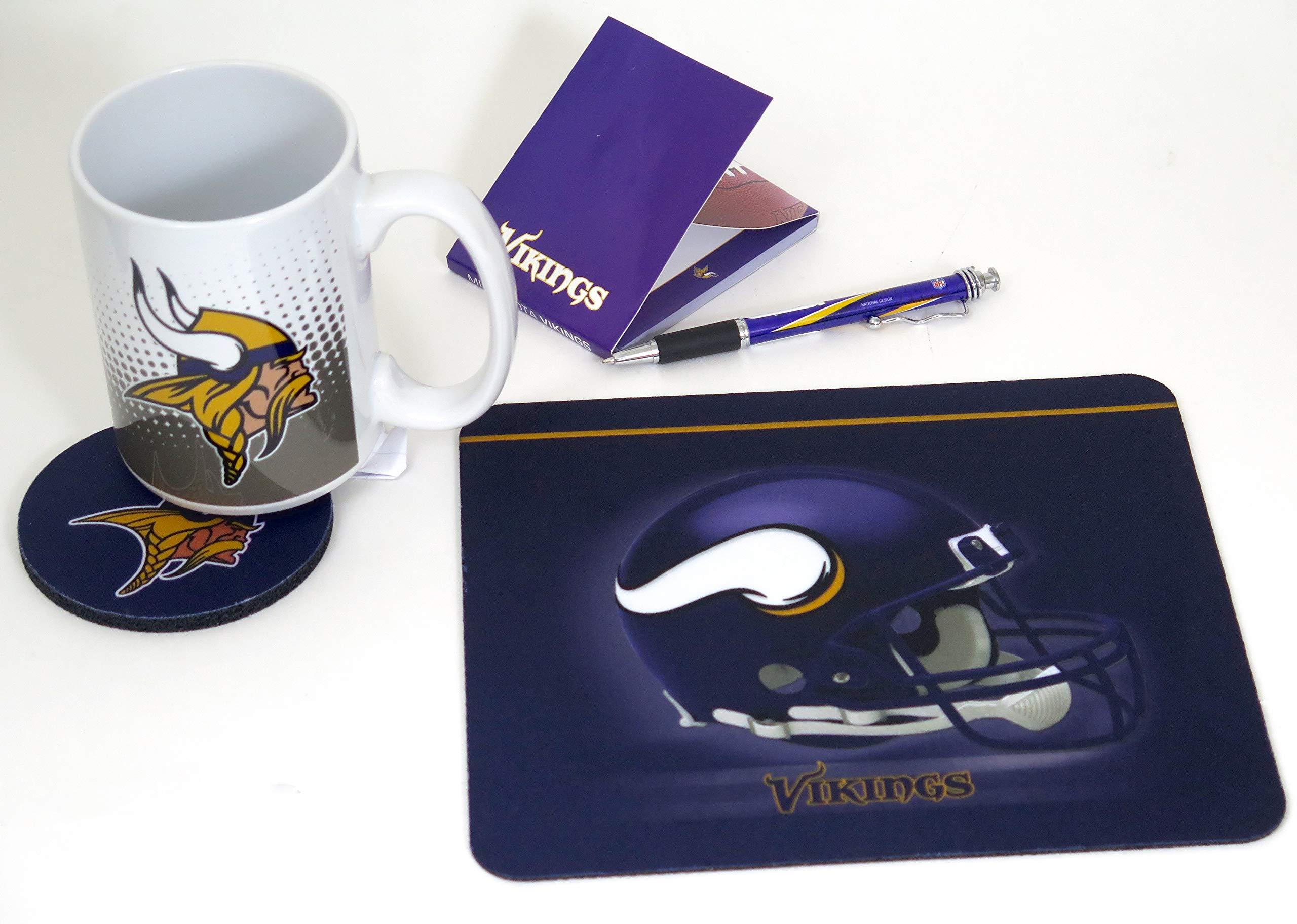 Minnesota Vikings Computer Workstation Set. Includes a Mouse pad, Coaster, Large Coffee Mug, memo pad, and Ballpoint Pen Too.