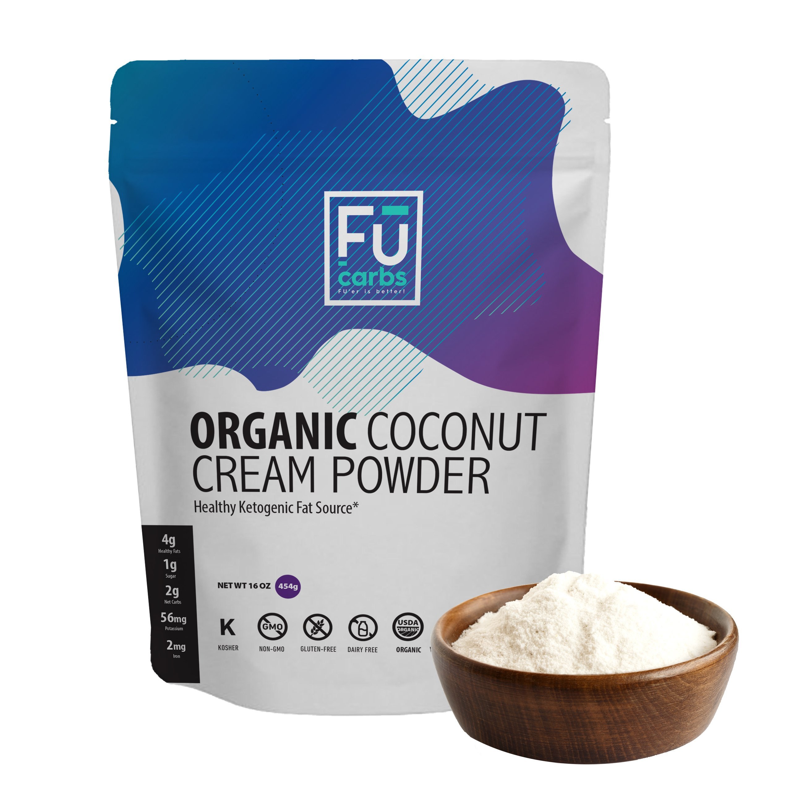 Organic Coconut Milk Cream Powder - Fū Carbs Powdered Coconut Cream Adds Healthy Fats to your Ketogenic and Paleo Diets. A Great Dairy Free, Vegan Friendly Addition to Coffee, Shakes, Smoothies etc.