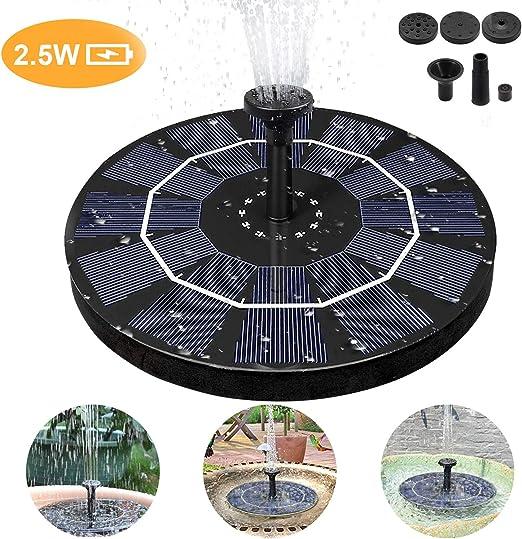 Fuente Solar Bomba,de Agua Solar de 2.5W Fuente Flotador, Flotante Energía Panel Jardín Solar Silicio Monocristalino Kit al Aire Libre Sumergible,Para Pequeño Estanque Fish Tank Decoración del Jardín: Amazon.es: Jardín
