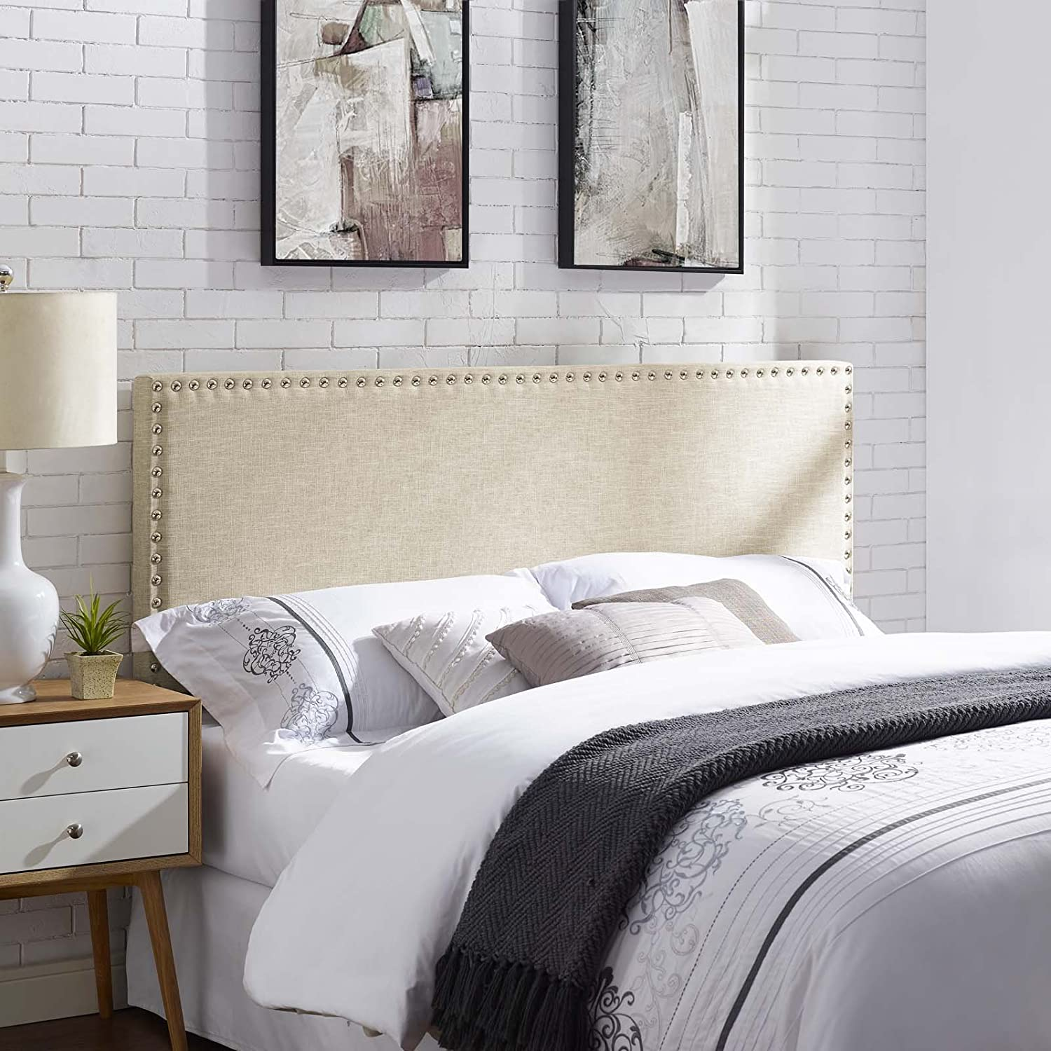 Modway Phoebe Linen Fabric Upholstered King Headboard in Beige with Nailhead Trim