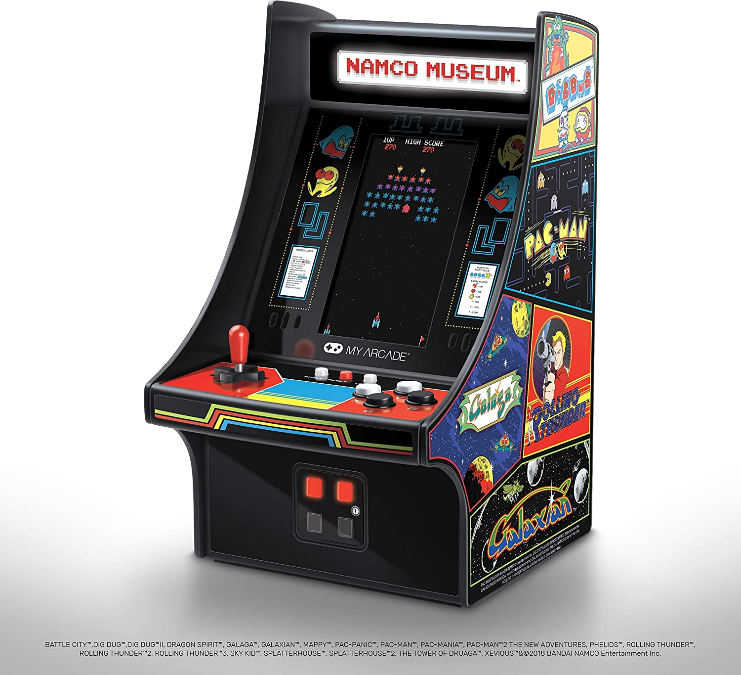 My Arcade Mini Player 10 Inch Arcade Machine: 20 Built In Games, Fully Playable, Pac-Man, Galaga, Mappy and More, 4.25 Inch Color Display, Speakers, Volume Controls, Headphone Jack, Micro USB Powered