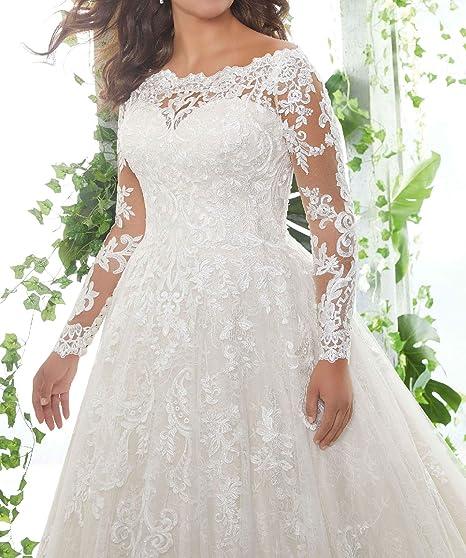 27b897e75ea1 Jerald Norton Ltd Women's Off Shoulder Floral Lace Applique Wedding Dress  Long Sleeve Bridal Gown at Amazon Women's Clothing store: