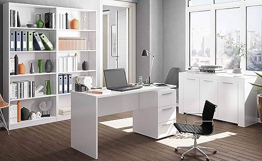 Miroytengo Pack mobiliario despacho Completo Color Blanco Brillo 1 ...