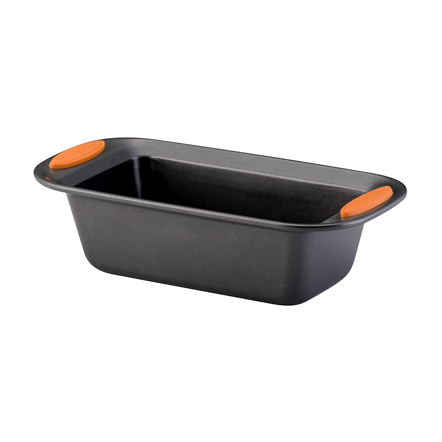 Rachael Ray Yum-o! Nonstick Bakeware 9-Inch by 5-Inch Oven Lovin' Loaf Pan, Gray with Orange Handles