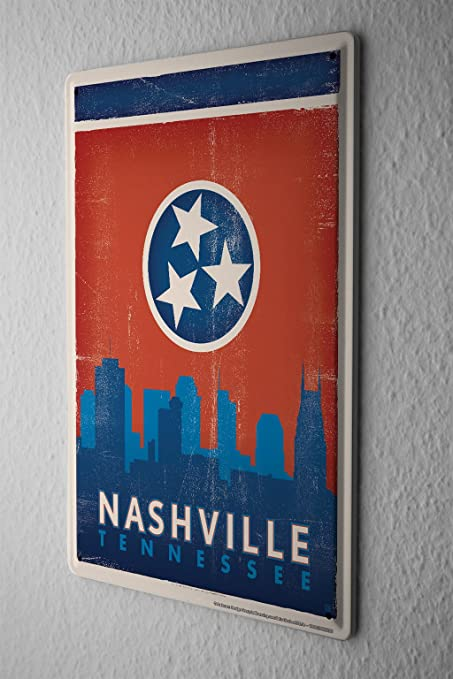 Tin Sign Retro Wall Art Metropole Nashville Tennessee Metal Plate 8X12u0026quot; & Amazon.com: Tin Sign Retro Wall Art Metropole Nashville Tennessee ...