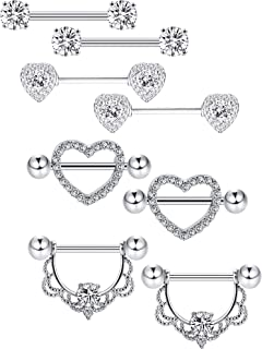 16e60cedafba92 Tatuo 4 Pairs Stainless Steel Nipple Rings Tongue Ring Piercing Body Jewelry  Barbell CZ Heart Shape