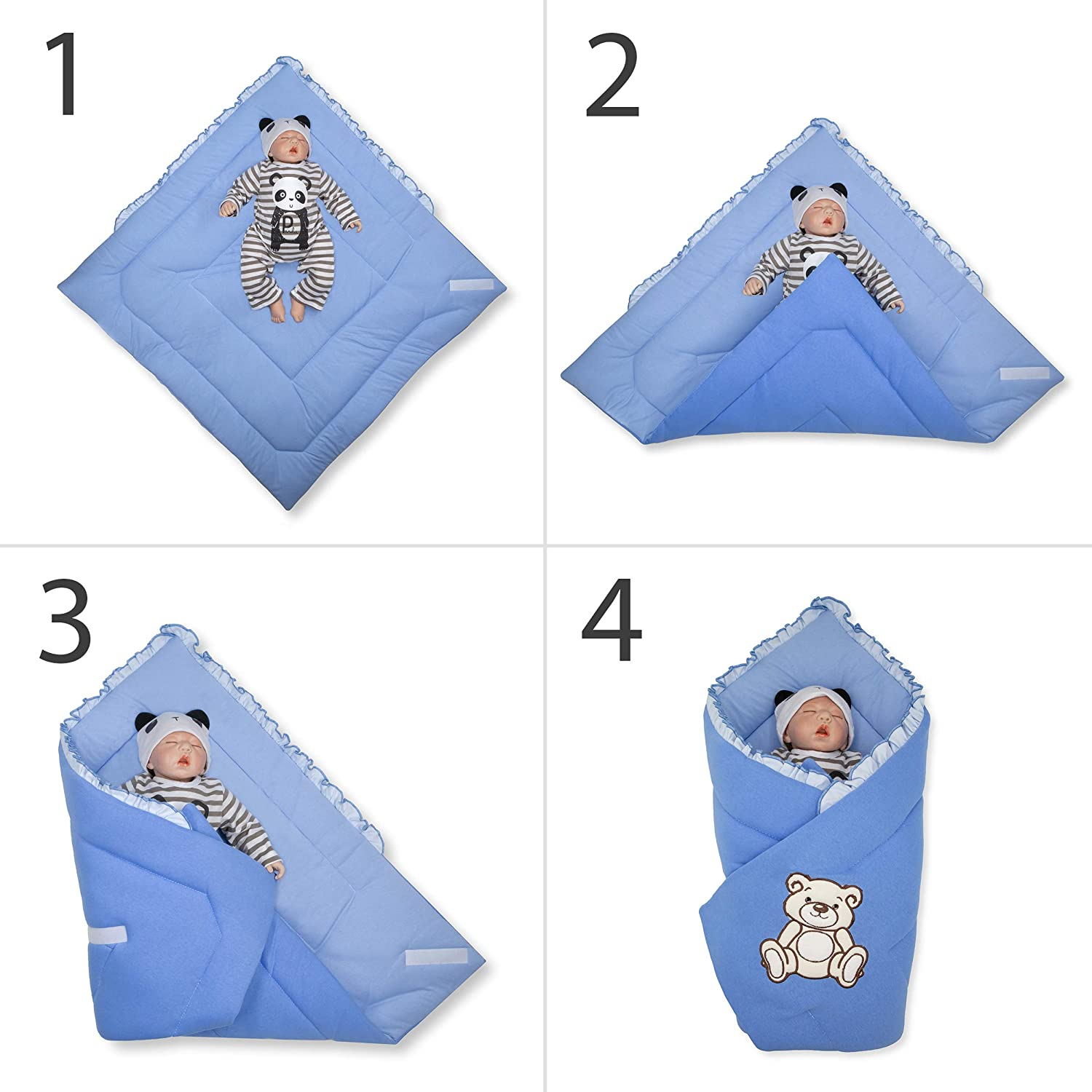 Sleeping Bag for Newborns BlueberryShop Jersey Baby Swaddle Wrap Bedding Blanket 78 x 78 cm Yellow Intended for Kids Aged 0-3 Months Perfect as a Baby Shower Gift