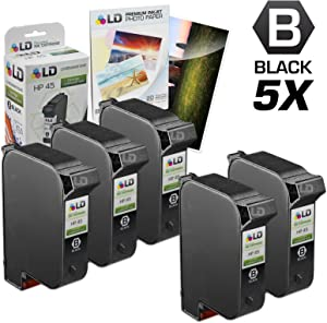 LD Remanufactured Ink Cartridge Replacements for HP 45 51645A (Black, 5-Pack)