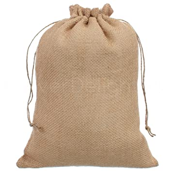 CleverDelights 10quot X 14quot Burlap Bags With Natural Jute Drawstring