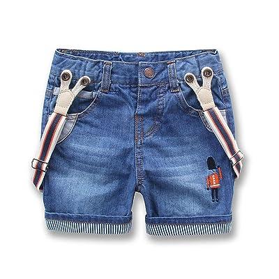 Hoared New Child Denim Shorts Summer Kids Jeans Pants Denim Overalls Suspenders Shorts 2T-8T
