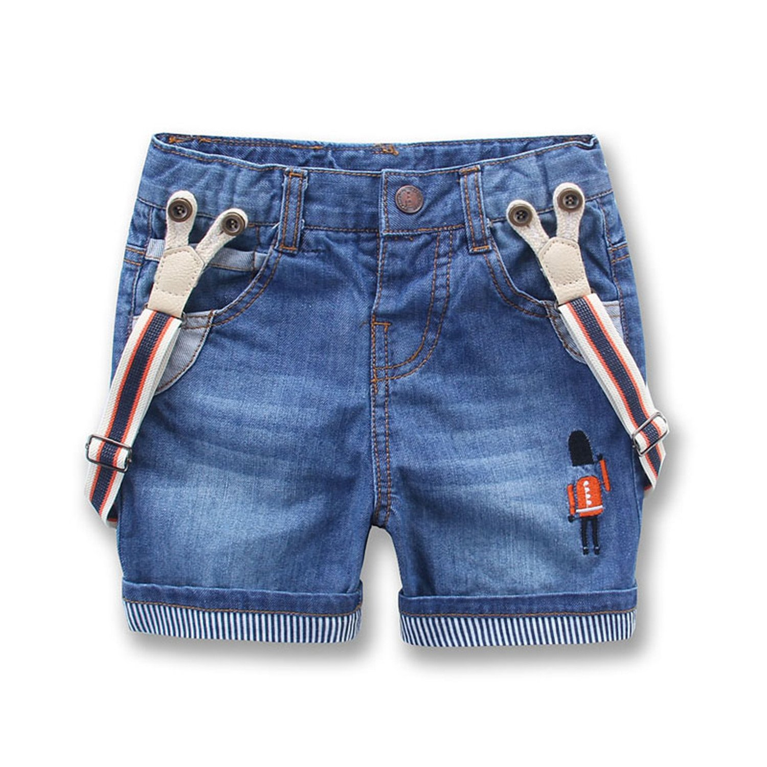 Hoared New Child Denim Shorts Summer Kids Jeans Pants Denim Overalls Suspenders Shorts 2T-8T Soldiers Overalls 8