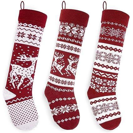 32b50c296 Amazon.com  Starry Dynamo Set of 3 Knit Christmas Stockings 26
