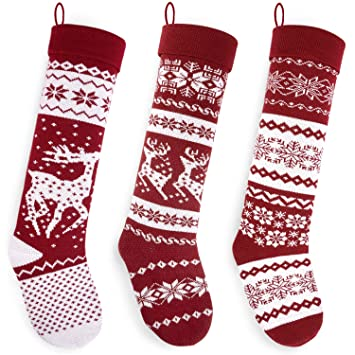 Knit Christmas Stockings.Starry Dynamo Knit Christmas Stockings 26 Inch Extra Long Hand Knitted Red White Big Little Reindeer Snowflakes Holiday Decor 3 Pack Big Reindeer