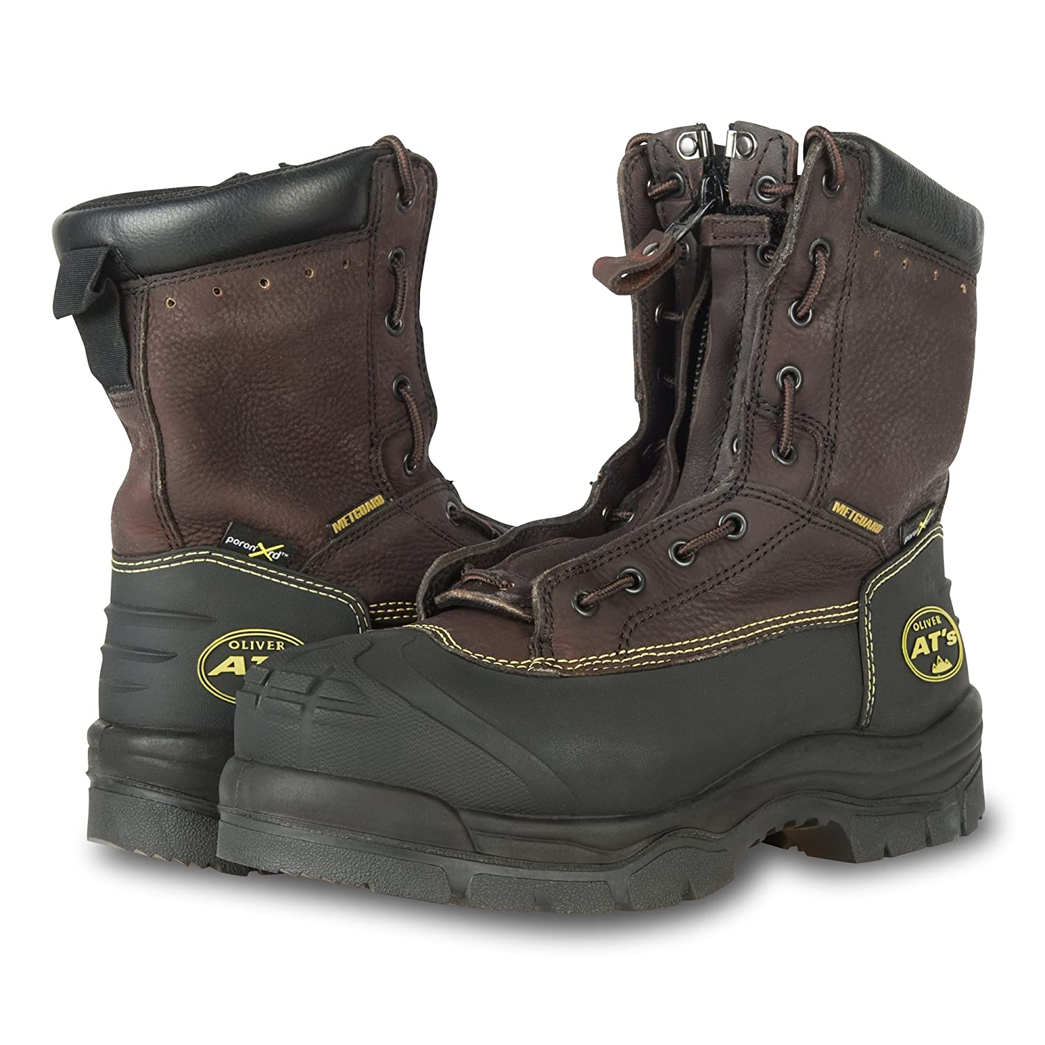 65392 Oliver 65 Series 8 Leather Chemical-Resistant Steel Toe Lace-In Zipper Mens Metatarsal Boots Brown