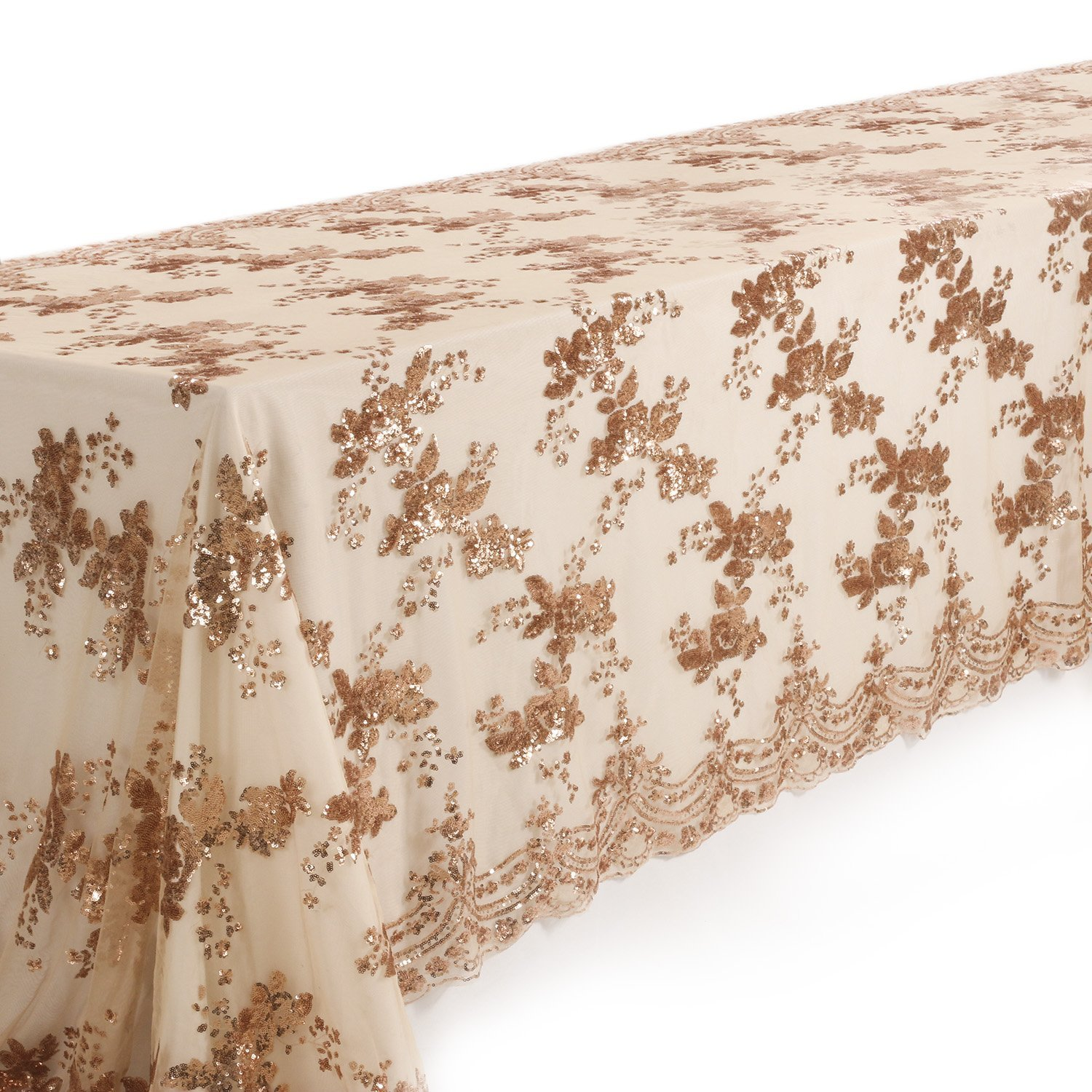Crisky Rose Gold Embroidery Sequin Tablecloths for Weddings Table Decorations, 3D Emvroidery Flower, Anniversary Party Cake Tablecloth Bridal Shower Baby Shower Welcome Table Decoration, 53'' x 118''