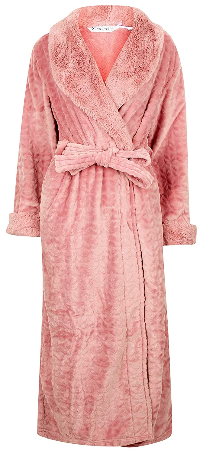 Ladies Grey Luxury Soft Thick Velvet Fleece Faux Fur Belt Up Dressing Gown Slenderella