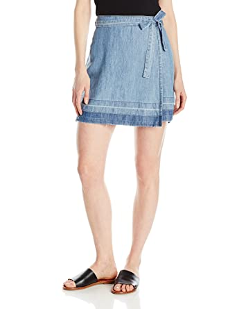 Amazon.com: Michael Stars Women's Linen Denim Tencel Wrap Skirt: Clothing