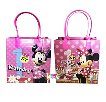2pc Disney Minnie Mouse 1st Birthday Party Loot Bags Goody Fun Gift Bag