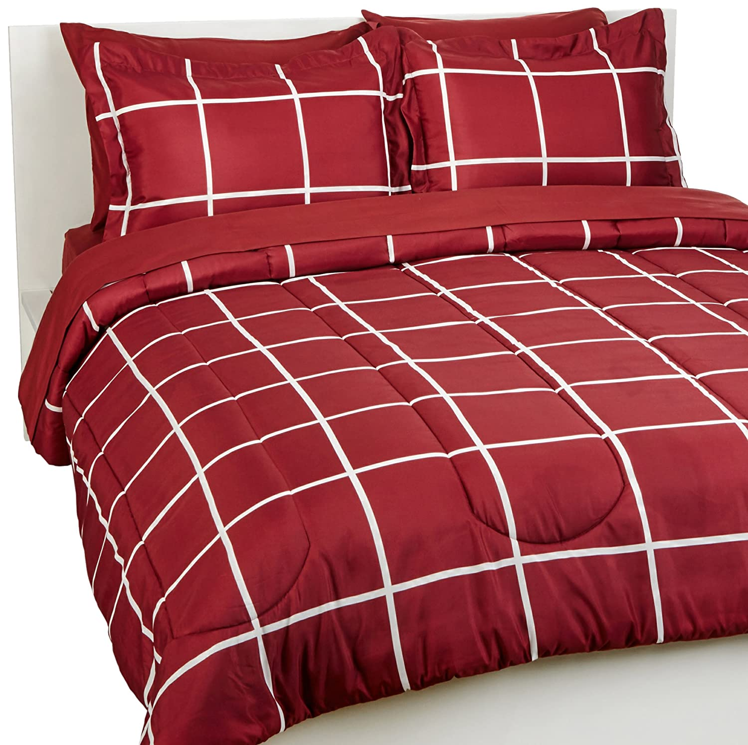 Queen Bedding Comforter Sheet Set, Burgundy Simple Plaid, Microfiber, Ultra-Soft