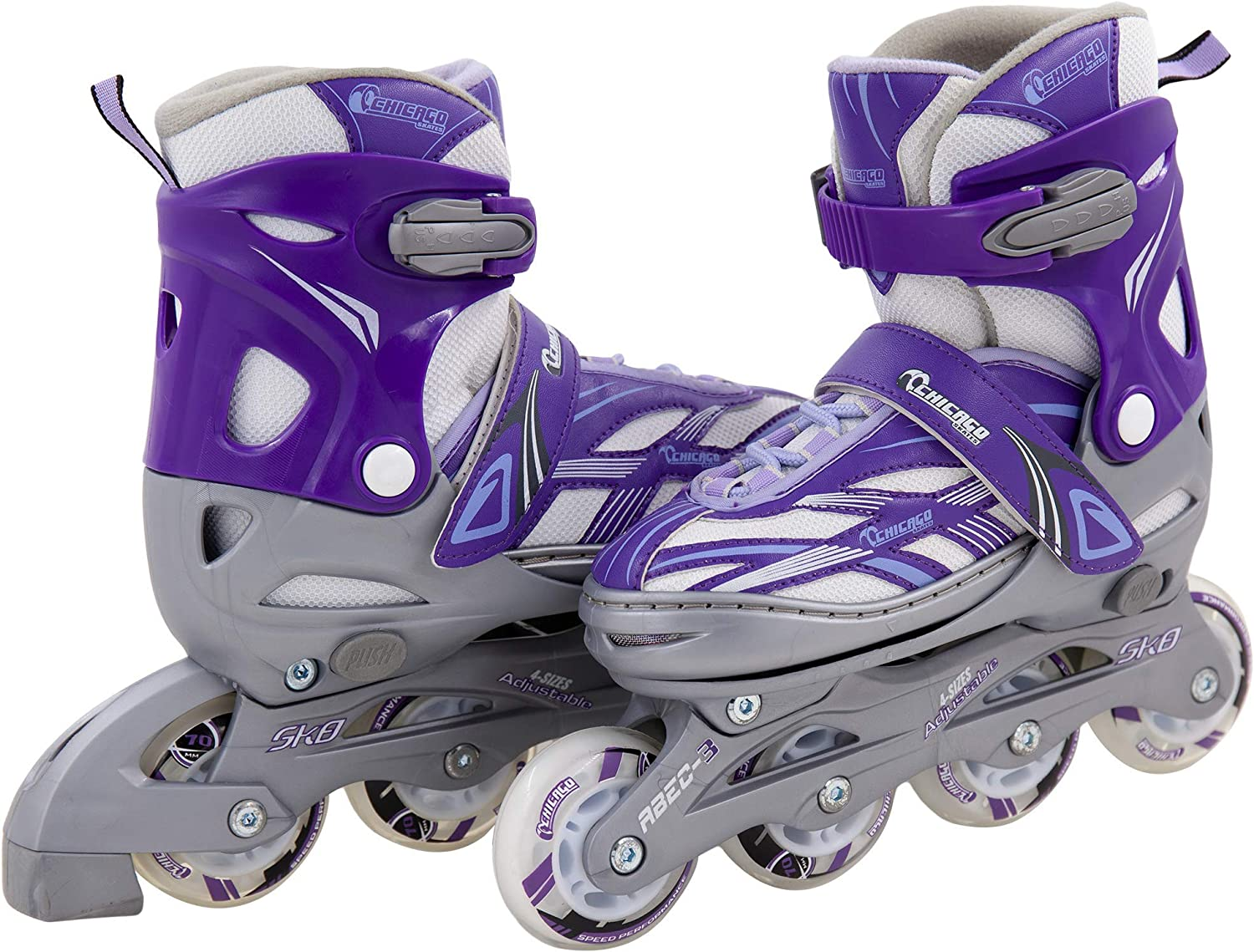 Chicago Blazer Junior Girls Adjustable Inline Skates – Purple