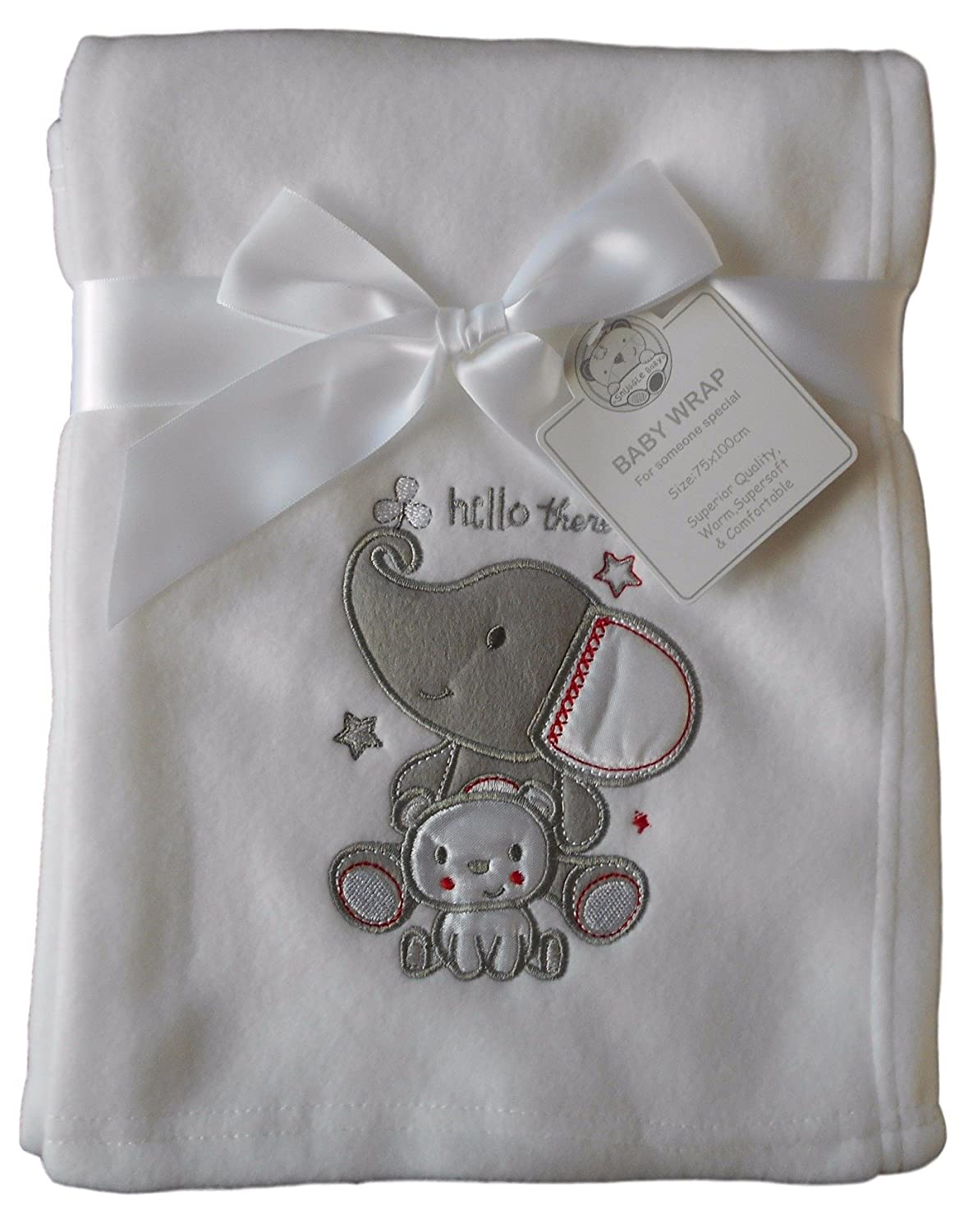 Baby Boys Girls Cute White Elephant and Bear Wrap Blanket 100cm x 75cm approx Snuggle Baby