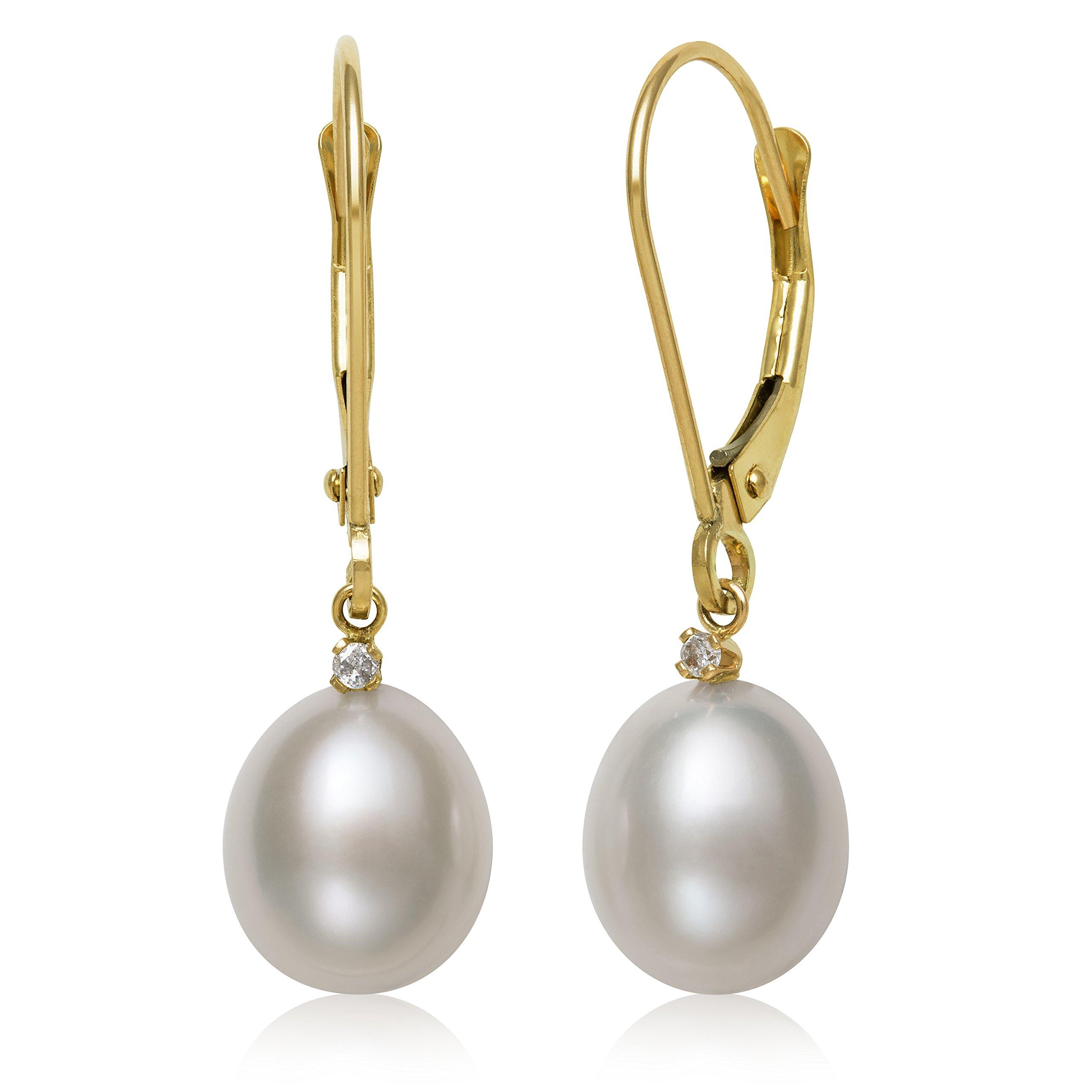 14k Yellow Gold White Cultured Freshwater Pearl Diamond Top Drop Dangle Earrings