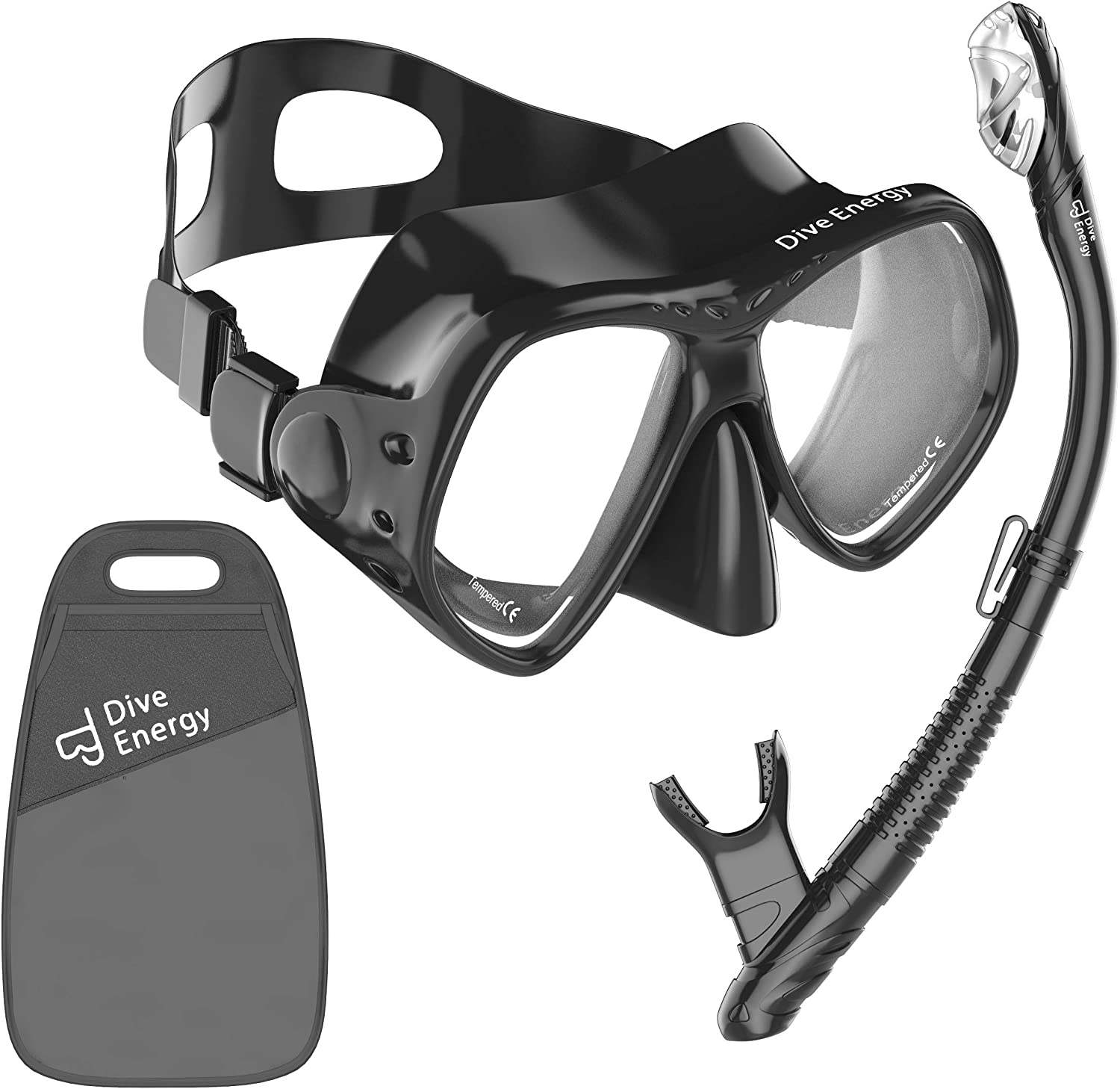 No Leaking Dry Snorkel Gear Easy Breathing and Adjustable Snorkeling Goggles for Adult Anti Fog Tempered Glass Lens Diving Mask with Mesh Bag MONKEY FOREST Snorkel Mask Set