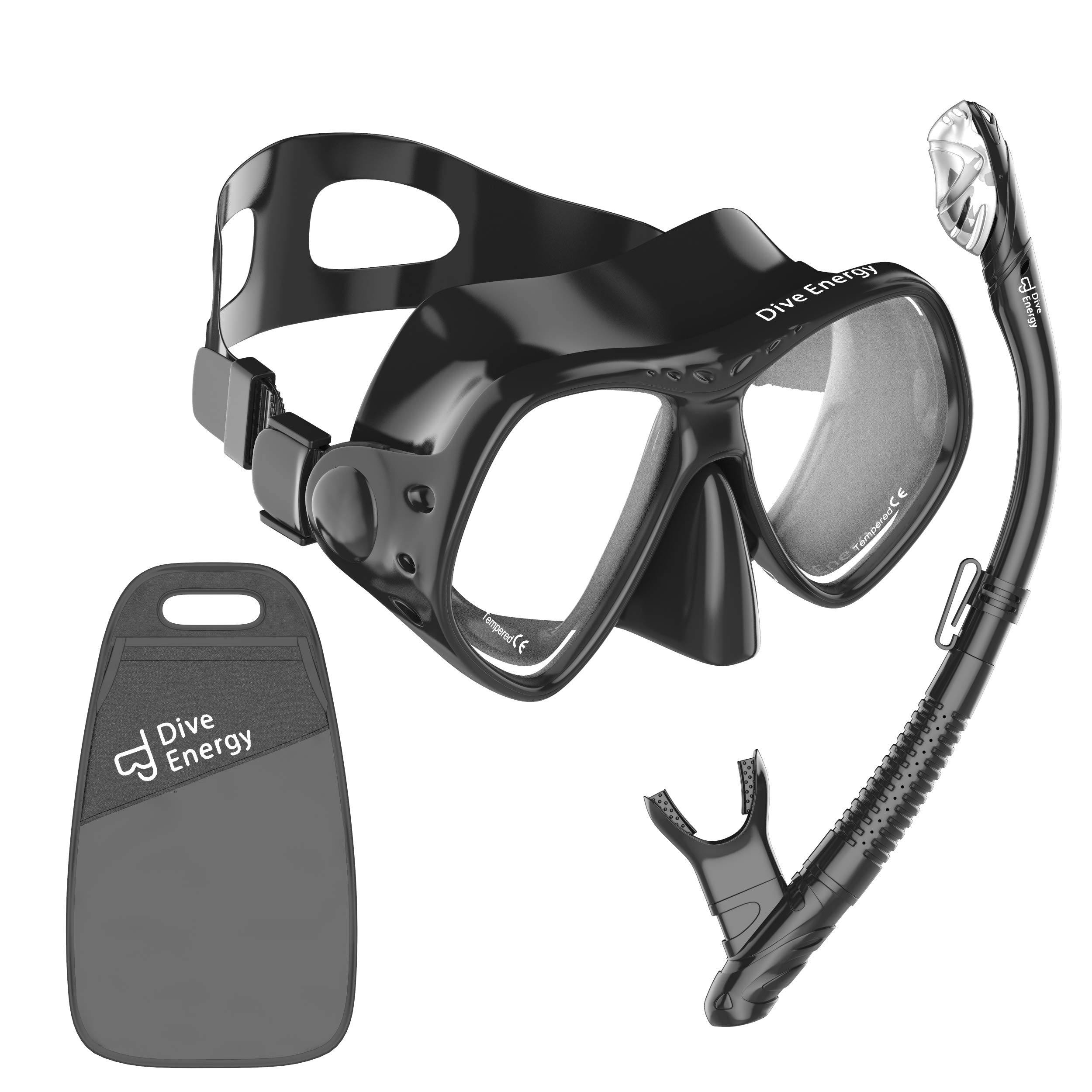 Professional Snorkel Set - Anti-Fogging, Tempered Glass Snorkel Mask - Clear View Scuba Diving - Easy Breathing - No Leaks Snorkel Kit + Carry Bag by Dive Energy