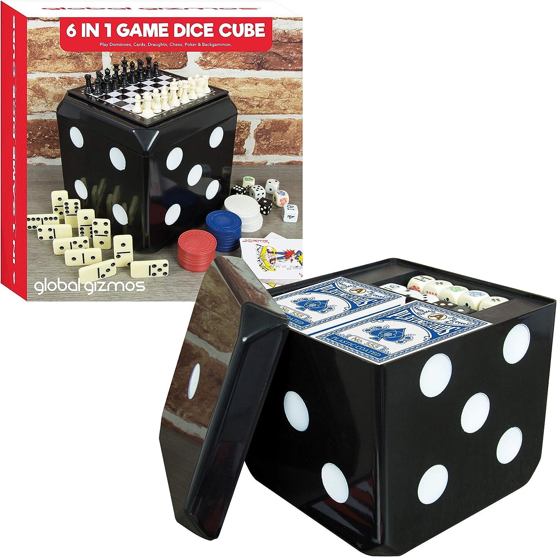 Global Gizmos Juego de 6 en 1 – Juego Tradicional y Divertido Que Incluye Dice, póquer, Dibujos, ajedrez, dominó y Tarjetas, para casa o Viaje: Amazon.es: Juguetes y juegos
