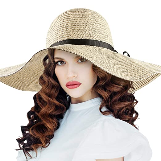 975d77cb Image Unavailable. Image not available for. Color: Sun Hat, Womens Wide  Brim Straw Hat Floppy Foldable Summer Beach ...