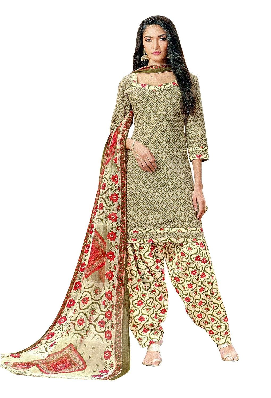 b2d0a67a60 Ladyline Womens Cotton Salwar Kameez Printed Patiala Salwar & Chiffon  Dupatta at Amazon Women's Clothing store: