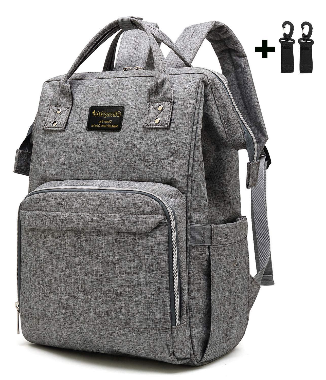 ChongErfei Diaper Bag Backpack Large Capacity Baby Nappy Bags Water-Resistant Baby Bag Travel Backpack Multi-Functional Diaper Mommy Bag 2 Stroller Hooks Included