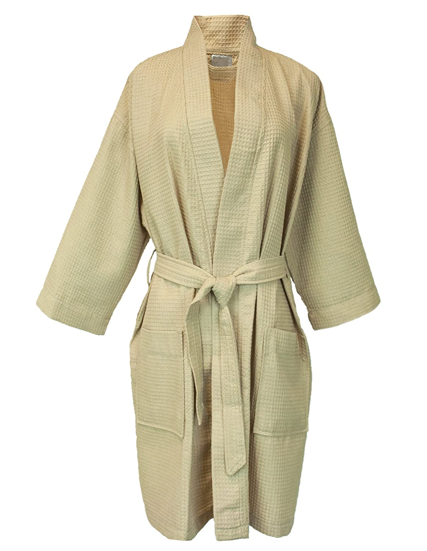 BC BARE COTTON Thigh Length Waffle Kimono Robe, Small/Medium, Aqua 7063-3003-01