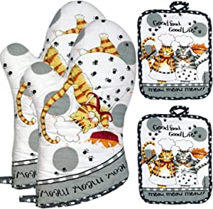 Lichrey Oven Mitts and Pot Holders Sets, Kitchen Oven Gloves of Heat Resistant 480 Degrees, Funny Hot Pads and Oven Mitts Sets with Pure Cotton for Baking,Cooking,BBQ Grilling(4pcs Set,White Cat)