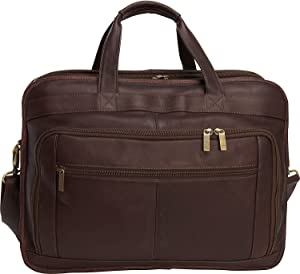 """Le Donne Leather Oversized Laptop Briefcase with Dual Handles, 17.25"""" x 13"""" x 8"""", Cafe"""