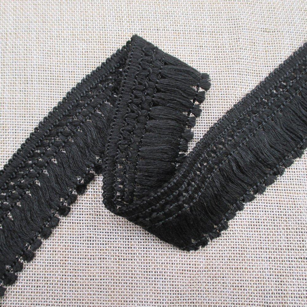 Cotton Tassel Fringe in Black 1-1//2 Inch 4 cm Wide Pack of 10 Yards