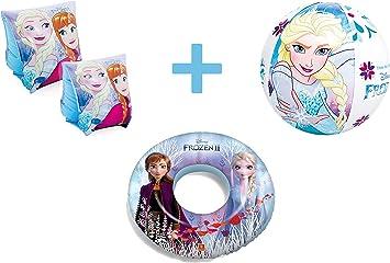JOVAL® -Set Infantil para Piscina de Frozen. Pelota, Flotador y ...
