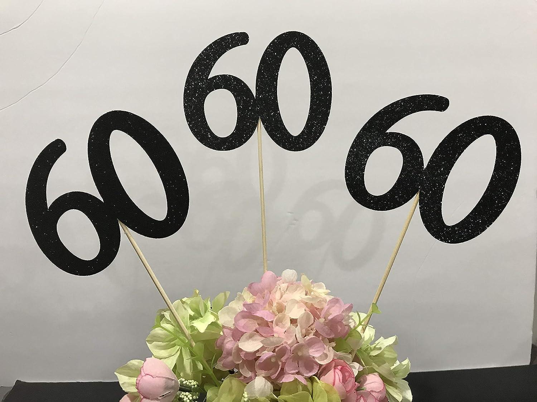 60th Birthday decoration, 60th Birthday Centerpiece Sticks, Glitter 60th Birthday Decoration, 60th Birthday Table, Age sticks, Anniversary