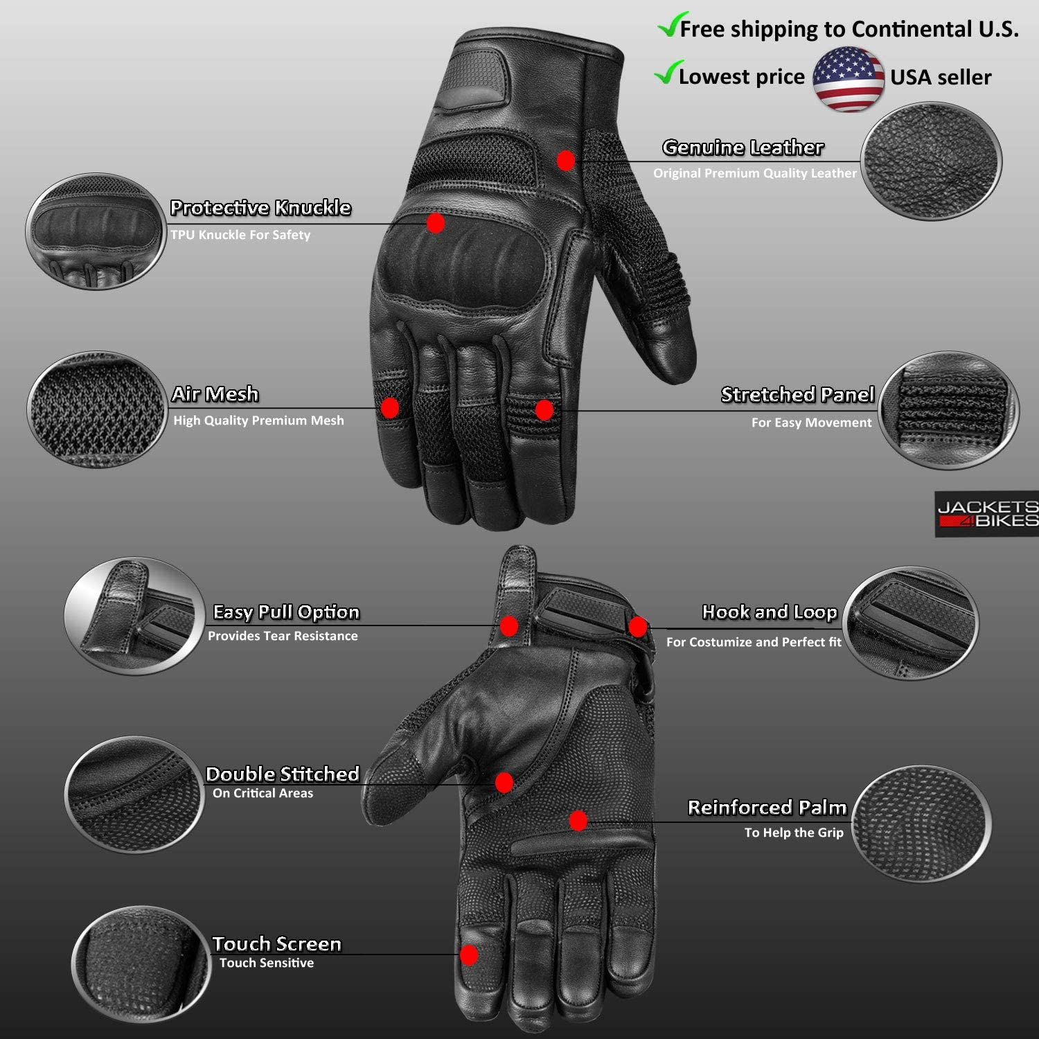 Mens Aniline Goat Leather Mesh Tactical Motorcycle Biker Touchscreen Gloves S