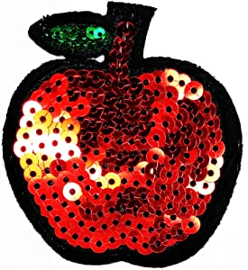 PARITA Red Apple Fruit Sequin Summer Fruit Cartoon Iron On Patches Embroidered Pretty Sewing On Patches Appliques for Clothes Jackets Hats Backpacks Jeans Kids Children